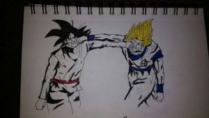 Black Goku (Base Form) Vs Goku (Super Saiyan 2) by zTLEG360QSz
