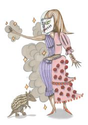 Day of the dead girl and Armadillo companion