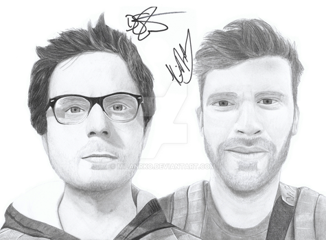 Drew Steen and Kit Nolan Pencil Drawing Signed by MilanRKO