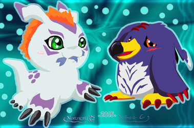 Gomamon 'n Penguinmon - Collab by JonCausith