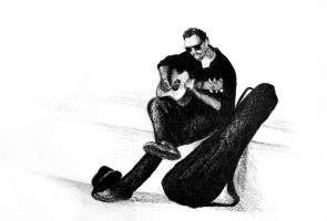 Guitarist playing on the street. Drawing illustrat by oanaunciuleanu
