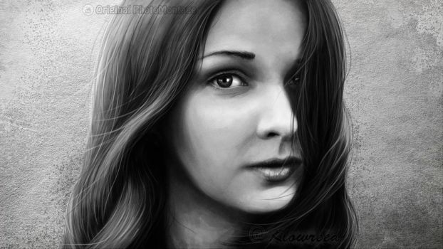 Digital Paint  Female portrait by Klowreed