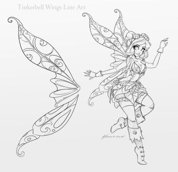 Tinkerbell Wings Line Art by NoFlutter