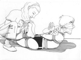 Ballet-sllippered-woman-hogties-man by 3may5sq1