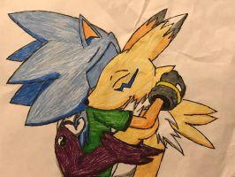 Drawing of Hiccup hugging Renamon Goodbye by Hiccup-Hedgehog18