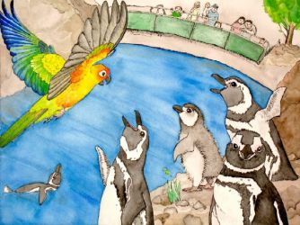 Sun Conure and Penguins by greencheek