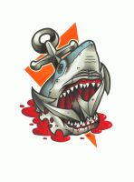 Shark and Anchor Tattoo Design by funkt-green