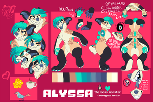 Alyssa Ref Sheet 2017 [FURSONA] by TerraTimberWolf