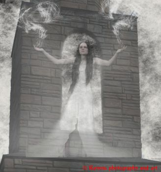 Her ghost on the tower by GothicRavenMidnight
