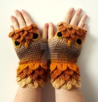 Tawny Owl Gloves by FearlessFibreArts