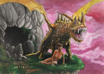 Dragon with woman by tejlor