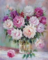 Roses In A Glass Vase - Arteet by Arteet