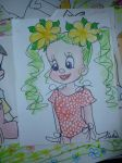 Girl with yellow flowers in her hair by 17cherry