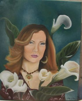 Portrait with Calla Lilies by amyria