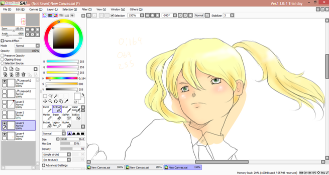 SAI paint first try,Maka WIP by MANGAfan0001