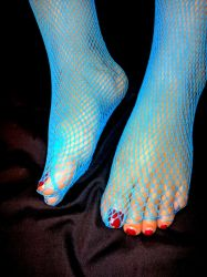 Neglected Chubby Toes in Blue Fishnet 2 by X-Stella