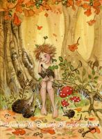 ACEO Hedgehogs' Autumn Tale TW by JoannaBromley