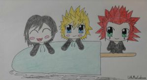 Chibi Xion, Roxas, and Axel (Kingdom Hearts) by LittleMissCookiexox