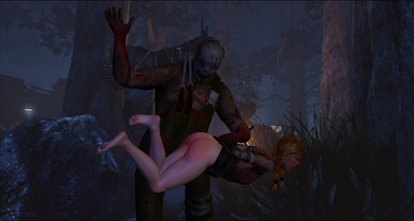 Dead by Daylight - The Trapper spanking Meg Thomas by Rose-ByAnyOther-Name