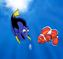 Dory and Marlin..and squishy.. by Lizzy23