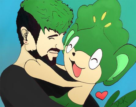 Jacksepticeye and a Pansage! by TheAcrylicKnight