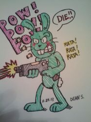 Green Murder Bunny by GreenUnicornArt
