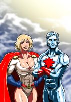 Power Girl and Captain Atom - 1989 by adamantis