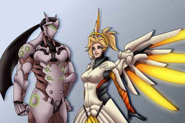Commission- Genji and Mercy by Rusty0