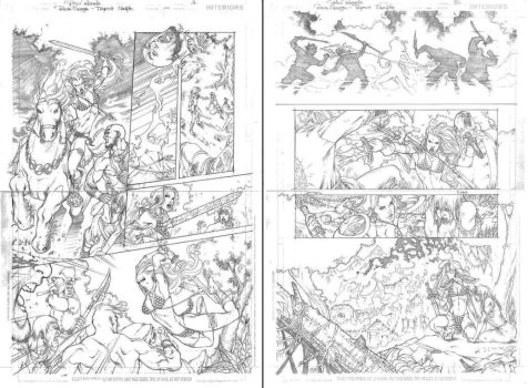more RED SONJA test pages by PowRodrix