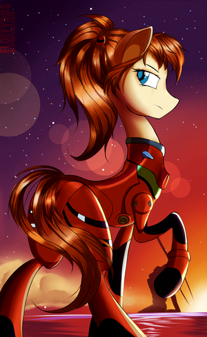 Ponyfication: Asuka Langley (Evangelion) by FluffyDus
