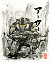Master Chief sumi/watercolor with calligraphy by MyCKs