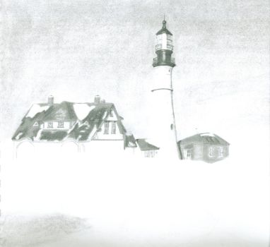 Unfinished Lighthouse Drawing by electromancer
