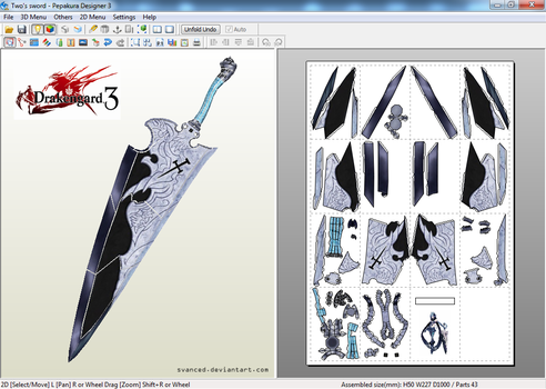 Drakengard 3 Two's Sword Papercraft Template by svanced