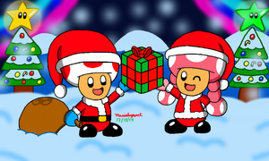 Toad and Toadette Christmas by MarioSimpson1