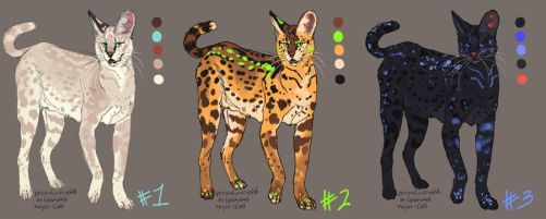 three serval characters by wylieblais