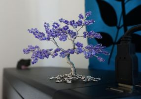 Miniature purple and silver tree of life sculpture by Twystedroots