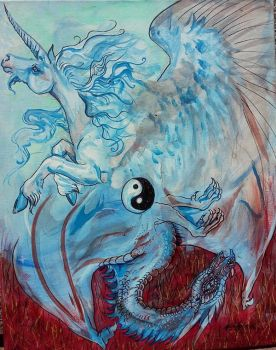 Unicorn and Dragon Yin Yang by StephanieSmall