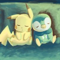 Pikachu and Piplup by LycheeLove