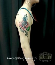 Watercolor Rose Cover Up Tattoo by Hudu85