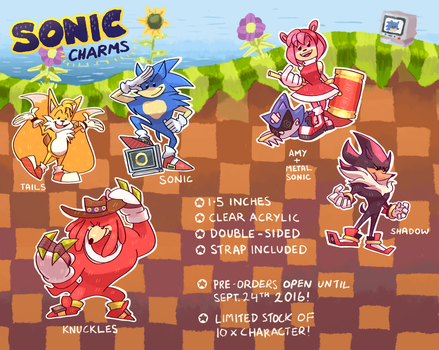 Sonic + Co Acrylic Charms -PREORDER OPEN- by cigar-blues