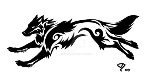 Commission: Tribal Wolf Tattoo by Shinnk