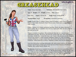 Jessica Ashe - Greasehead Character Card by Nathanomir