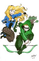 Green Arrow and Black Canary by DisintegrationStreet