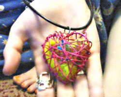 My Little Pony Inside a Pink Heart Cage Necklace by SymzTew
