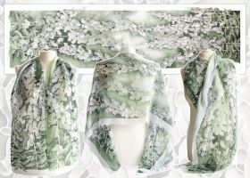 Silk scarf Foxglove - For sale by MinkuLul