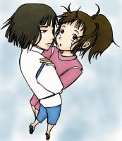 Sketch 8: Chihiro and Haku by jncomplete