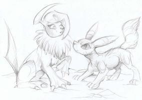 Absol and Umbreon by Taski-Guru