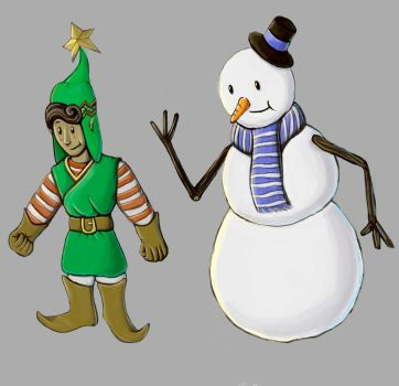 The Elf and the (Snow) Man. by Leugi