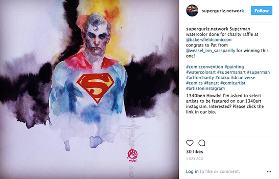 Superman-charity-watercolor-piece by synthetikxs