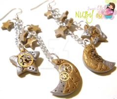 Steampunk Night earrings by colourful-blossom